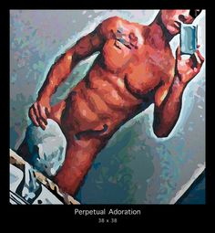 "This Sexy painting is by San Francisco artist Donald Rizzo and is titled ""PERPETUAL ADORATION"". It captures the sexy side of online profiles. See more acrylic painted works at www.Donald-Rizzo.com"