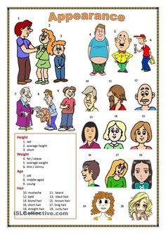 Adjectives describing 'Height', 'Age', 'Build', 'General