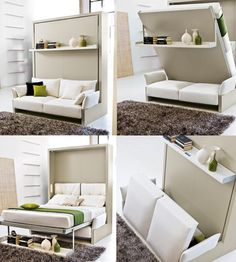 """Nuovoliola"" by Resource Furniture This queen size Murphy bed is only deep when it is upright. The whole unit is 4 feet deep. - Resource Furniture - made in Italy. Furniture, Resource Furniture, Smart Bed, Convertible Furniture, Space Saving Beds, Bed, Small Bedroom, Murphy Bed Plans, Modular Furniture"