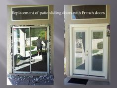 Removing Patio Sliding Door And Installing French Doors With Mini Blinds.  The Mini Blinds Are