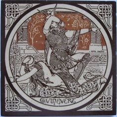 """From the series designed by John Moyr Smith for Mintons based on Alfred, Lord Tennyson's poem """"Idylls of the King"""", here is 'Guinevere'. The tile is printed in dark brown and raw umber on a buff field,..."""