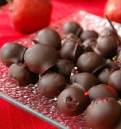 Chocolate-Covered Cranberries: Only three ingredients and something different than the usual chocolate-covered cherries.