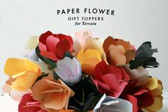 paper flowers for terrain by The House That Lars Built Paper Flowers Diy, Handmade Flowers, Flower Crafts, Paper Art, Paper Crafts, Diy Crafts, Green Flowers, Diy Projects To Try, Flower Decorations