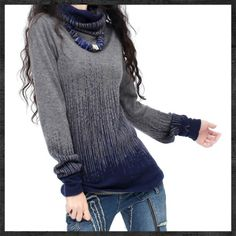 Women's Gradient Black Blue Vintage Cashmere Sweater Women Winter Turtleneck Thick Sweaters And Pullovers Female Warm Jumpers |  Gorden Web Stores