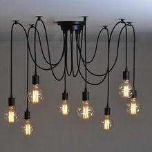 Mordern Nordic Retro Edison-birne Licht Kronleuchter Vintage Loft Antiken Verstellbare DIY E27 Kunst Spinne Deckenleuchte Leuchte Licht(China (Mainland))