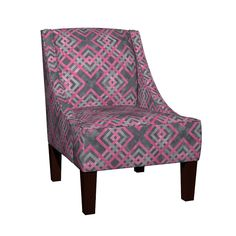 Venda Sloped Arm Chair featuring Cheater Quilt Carpenters Square Pattern Grey Pink by wickedrefined, this fabric is available at Spoonflower.com