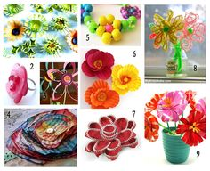 10 ways to make flowers with pre-schoolers. Wish I'd seen this a few days ago before my attempts!