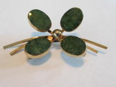 Vintage BAL Ron 12K Gold Filled Jade Lucky Four Leaf Clover Pin Brooch | eBay