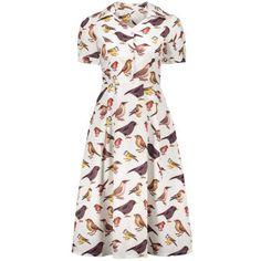Birds Printed High Waist Flare Dress ($27) ❤ liked on Polyvore featuring dresses, high waist dress, flare dress, white flared dress, white flare dress and white day dress