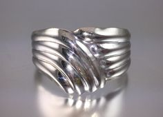 Sterling Silver Abstract Cuff Bracelet by RhinestoneByrd on Etsy