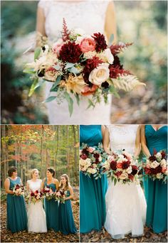 Fall mountain wedding bouquet with red and white by @lesleybritt