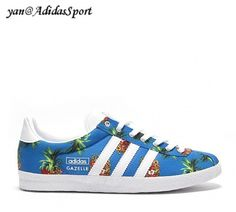 Adidas Originals Gazelle And WC Farm Womens Shoes Pineapple Print Blue White HOT SALE! HOT PRICE!