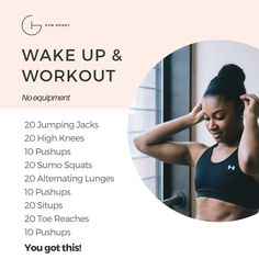 Ariel Belgrave | Health & Fitness Coach & Under Armour Athlete (@gymhooky) Morning Workout At Home, Wake Up Workout, At Home Workout Plan, At Home Workouts, Sumo Squats, Lunges, Sit Up, Jumping Jacks, Ariel