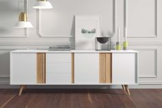Contemporary sideboard in matt white/oak, sand/walnut or taupe/walnut finish with 3 doors and 3 drawers Hall Furniture, Furniture Design, Tv Shelf, Shelves, Commode Design, Buffet Design, Styling A Buffet, Modern Sideboard, Italian Furniture