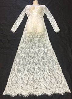 Long white see through lace dress. For sale: $38.00 use for maternity, wedding, cover-up, anniversary, photo shoots, and more!