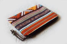 Orange Maroon Turquoise zig zag tribal aztec coin by ElfAndOak