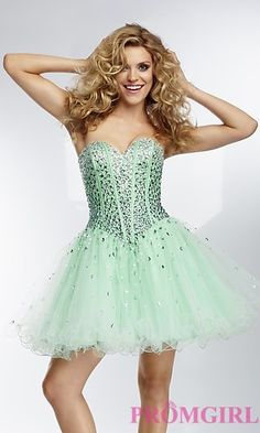 Strapless Short Dress by Mori Lee 9254 at PromGirl.com
