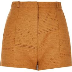River Island Dark yellow woven geometric shorts (50 AUD) ❤ liked on Polyvore featuring shorts, high rise shorts, highwaisted shorts, woven shorts, river island and high waisted zipper shorts