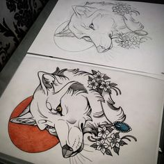 neo traditional wolf tattoo - Google Search