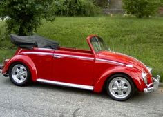 red VW BEETLE I will be driving an old one of these before ya know it, not necessariily red. Red Beetle, Beetle Car, Vw Cabrio, Vw Beetle Convertible, Vw Super Beetle, Kdf Wagen, Hot Vw, Vw Beetles, Vw Bus