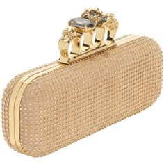 Buff Gold Studded Knuckle Box Clutch (124.255 RUB) ❤ liked on Polyvore featuring bags, handbags, clutches, bolsas, alexander mcqueen, accessories, women, hard clutch, knuckle purse and studded purse