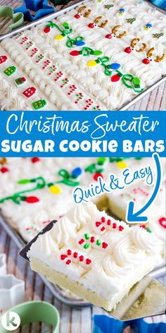 Ugly Christmas Sweater Sugar Cookie Bars are the quickest way to make soft frosted sugar cookies for a crowd. No chilling, no cutting, no mess! Recipe and Pro Tips at In Katrina's Kitchen Holiday Cookie Recipes, Best Dessert Recipes, Holiday Baking, Christmas Baking, My Recipes, Sweet Recipes, Family Recipes, Baking Recipes, Christmas Brunch