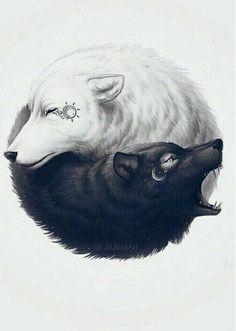 This is the best Yin-Yang! on We Heart It Wolf Tattoos, Animal Tattoos, Body Art Tattoos, Tatoos, Lion Tattoo, Artwork Lobo, Wolf Artwork, Wolf Wallpaper, Dark Wallpaper