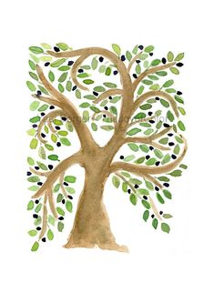 Olive Tree art print of my original watercolor painting, is influenced from old folk art paintings. Olives trees can live for hundreds of years and