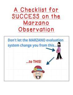 Marzano Observation + Evaluation Success Checklists $$$$