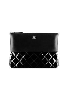 Lambskin and patent calfskin zip... - CHANEL