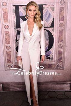 2c5b289f1d02 #RosieHuntington-Whiteley #WhiteDresses #PlungingDresses #TuxedoDress -  #CelebrityDresses Blazer Dress,
