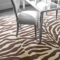 Walk on the wild side with the Dash and Albert Zebra Tufted/Carved Wool Rug. Dash and Albert Rugs always ship free at Lavender Fields Contemporary Area Rugs, Modern Rugs, Novelty Rugs, Dash And Albert, Dining Room Design, Room Rugs, Beige Area Rugs, Rugs On Carpet, Carpets