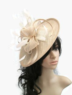 Nude shaped fascinator with ivory trim & feathers..on a headband by SpecialDayfascinator on Etsy https://www.etsy.com/listing/214681218/nude-shaped-fascinator-with-ivory-trim
