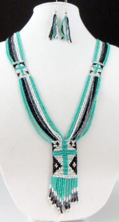 """Cowgirl Bling 36"""" Indian Native Turquoise Black CROSS beaded Gypsy necklace set"""
