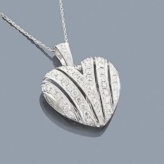 14K Gold Diamond Heart Pendant 1.15ct