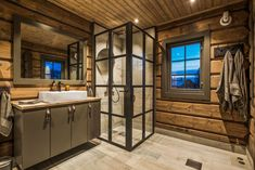33 Awesome Rustic Style Winter Bathroom Decoration Ideas - Now that there is a slight chill in air and winter is well on its way, this would be a good time to start preparing the bathroom for that long cold se. Steel Windows, Window Design, Double Doors, Rustic Style, Small Bathroom, Small Spaces, Living Spaces, House Ideas, New Homes