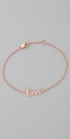 rose gold love bracelet   Jennifer Zeuner  Cursive LOVE Bracelet  Style #:ZEUNR40030