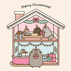 Merry Christmas from the cute cat Pusheen 🎄🎁💕 Nyan Cat, Gato Pusheen, Pusheen Love, Pusheen Stuff, Pusheen Stormy, 4 Panel Life, Merry Christmas, Christmas 2017, Image Chat