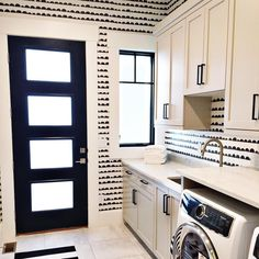 Love this fun laundry room done by @erinhansendesign The wallpaper is to die for & a huge hint as to what you'll be seeing our designs on next @staggdesignshop !