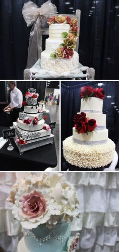 Lovely wedding cakes with flower toppers. Click to view more from the Winter 2016 Knoxville Pink Bridal Show®! | The Pink Bride® www.thepinkbride.com