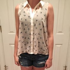 blouse Sheer pink sparrow blouse Forever 21 Tops Blouses