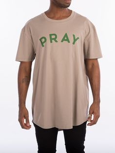 dcb59c3e The Trap Lord Pray mens knit Scallop Tee in TaupeThis style is also  available in White