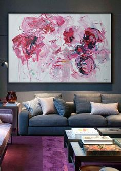 Abstract+flower+Oil+Painting+On+Canvas+Original+by+CelineZiangArt