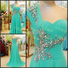Wholesale Evening Dresses - Buy Chic Chiffon One Shoulder Pleats Crystals Beads Column Sleeveless Sweep Train Evening Dresses Prom Dress B212, $139.0 | DHgate