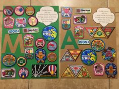 Girl Scout bridging ceremony patch and badge display for juniors and brownies Girl Scout Badges, Brownie Girl Scouts, Girl Scout Bridging, Girl Scout Patches, Girl Scout Juniors, Daisy Scouts, Girl Scout Leader, Scouting, Brownies
