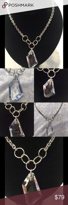 """Swarovski Artsy Crystal necklace, hand made Local designer uses elegant Swarovski Crystals to create her beautiful jewelry. This necklace in silver futures large 1.5"""" Artsy Crystal Stone. Original price $199 Jewelry Necklaces"""