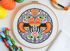 PATTERN Folk Foxes Cross Stitch Chart - Traditional Folk Art Inspired Cross Stitch Pattern - Floral Fox Modern Colours for 14 count Aida Rooster Cross Stitch, Cross Stitch Art, Cross Stitch Animals, Cross Stitching, Folk Embroidery, Cross Stitch Embroidery, Embroidery Patterns, Stitching Patterns, Wedding Cross Stitch