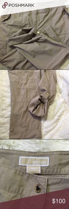 Michael Kors Roll Up Cargo Pants Super comfy pants! It's missing the hidden button on the inside, but everything else is excellent. Fast shipping. Michael Kors Pants