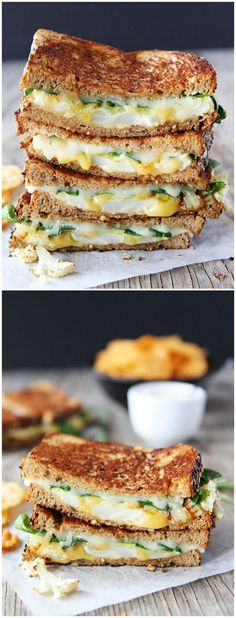 Roasted Cauliflower Grilled Cheese -- A healthier take on grilled cheese #healthier #cauliflower #grilledcheese #recipe