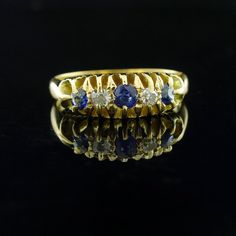 Antique Ring Antique 18ct Gold Sapphire and Diamond Gyspy Ring Sapphire and Diamond  Ring Size L 12 or 5 78 18ct Gold Engagement Ring